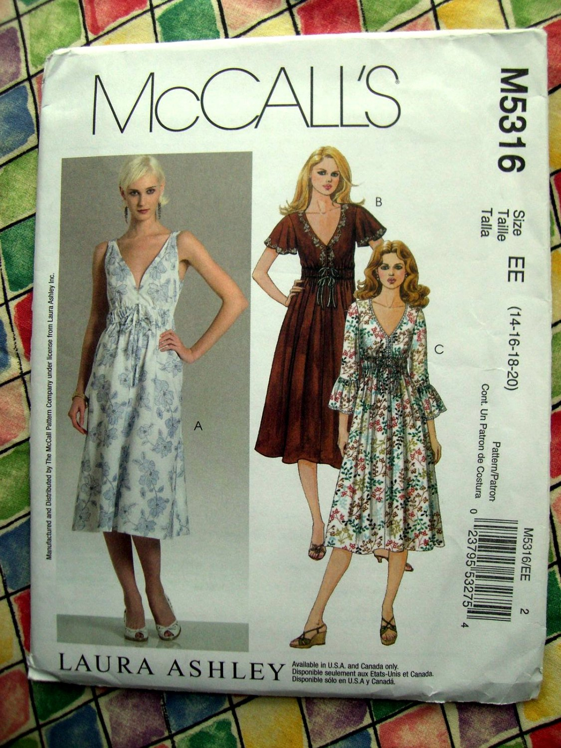 SOLD McCall's Pattern # 5316 Laura Ashley Summer Dress Size 14 16 18 20