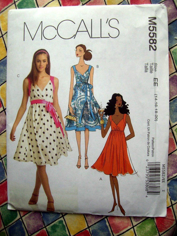 McCalls Pattern # 5582 UNCUT Misses Summer Empire Dress Belt Size 14 16 18 20