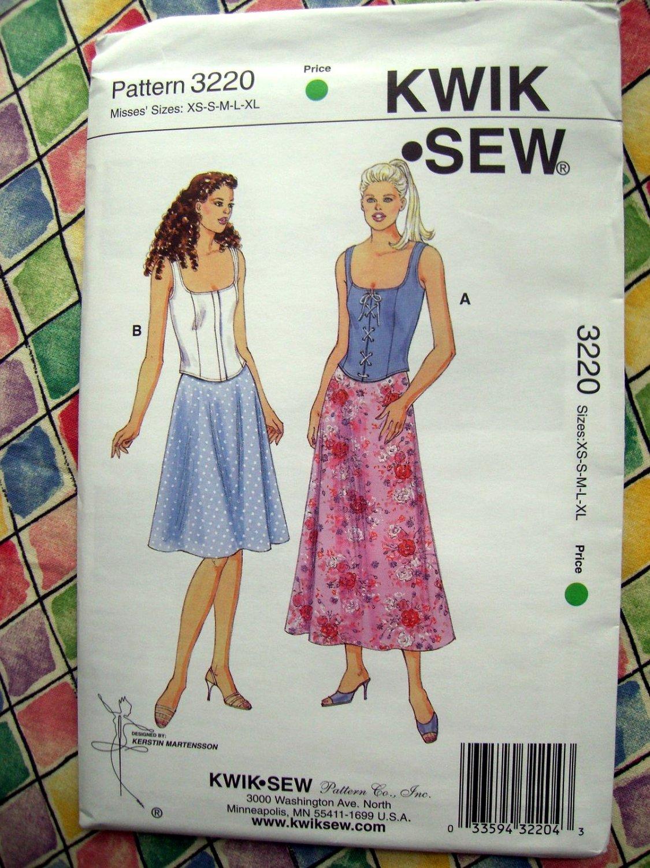 Kwik Sew Pattern # 3220 UNCUT Misses Summer Top Skirt Size XS Small Medium Large XL