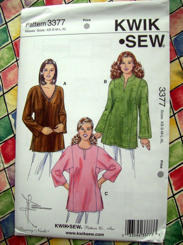 SOLD! Kwik Sew Pattern # 3377 UNCUT Tunic Top Size XS Small Medium Large XL