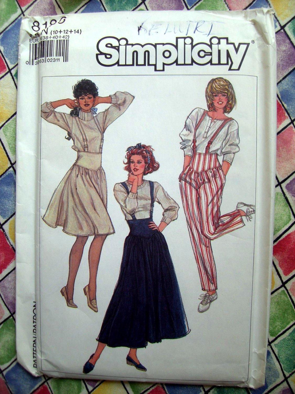 Simplicity Pattern # 8186 UNCUT Misses Suspender Skirt Pants Sizes 10 12 14