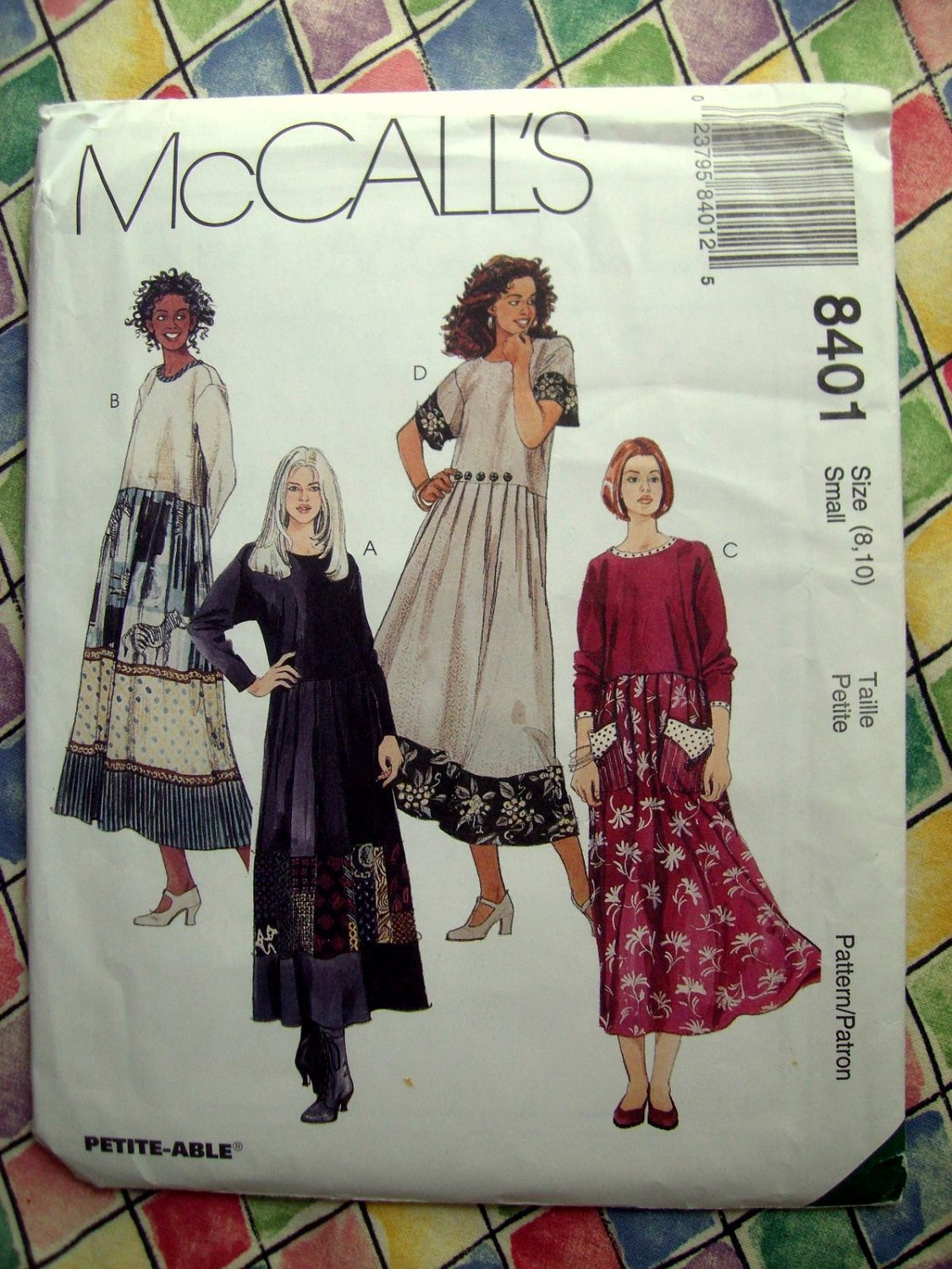SOLD! McCalls Pattern # 8401 UNCUT Misses Loose Pull-Over Dress Variations Size 8 10 Small