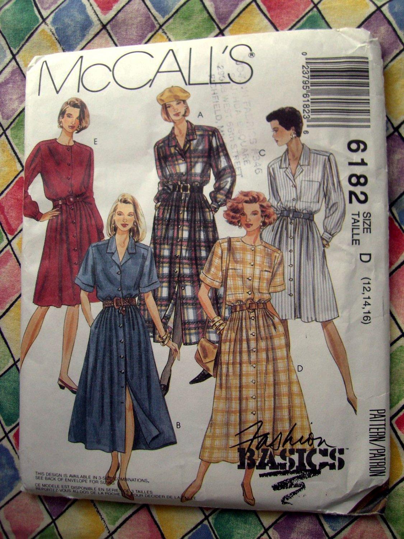 SOLD! McCalls Pattern # 6182 UNCUT Misses Front Buttoned Dress Size 12 14 16