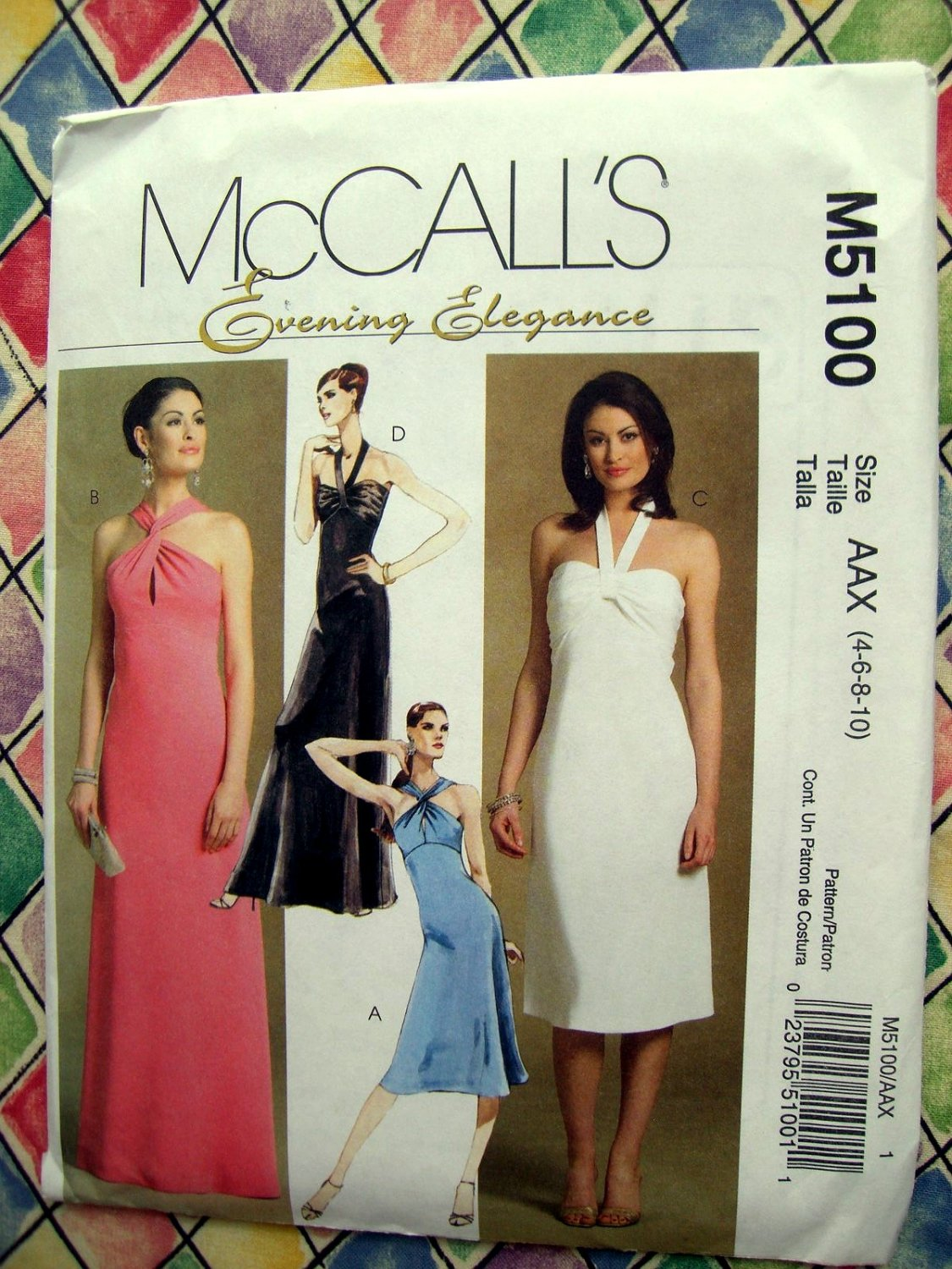 McCalls Pattern # 5100  Misses Halter Evening Dress Two Lengths Size 4 6 8 10