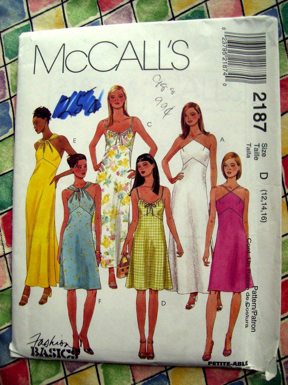 SOLD! McCalls Pattern # 2187 UNCUT Misses Summer Dress Halter Size 12 14 16