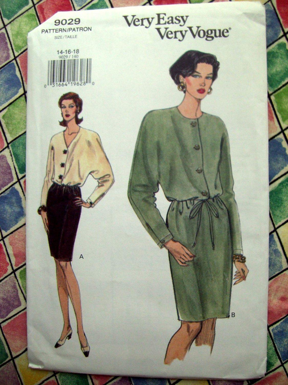 SOLD! Vogue Pattern # 9029 UNCUT Misses Dress Size 14 16 18