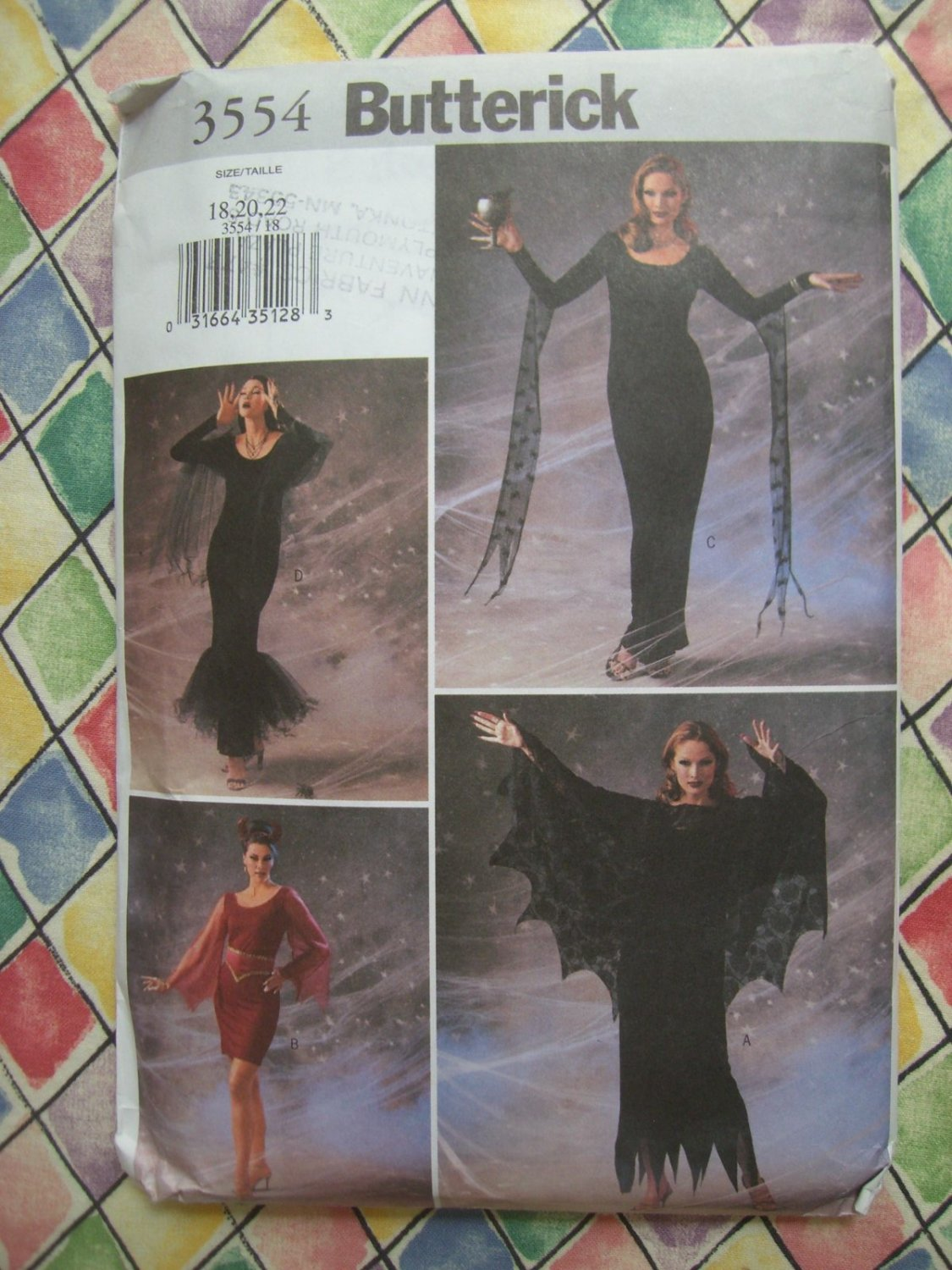 SOLD! Butterick Pattern #3554 UNCUT Misses Womans Sexy Witch Costume Dress Size 18 20 22