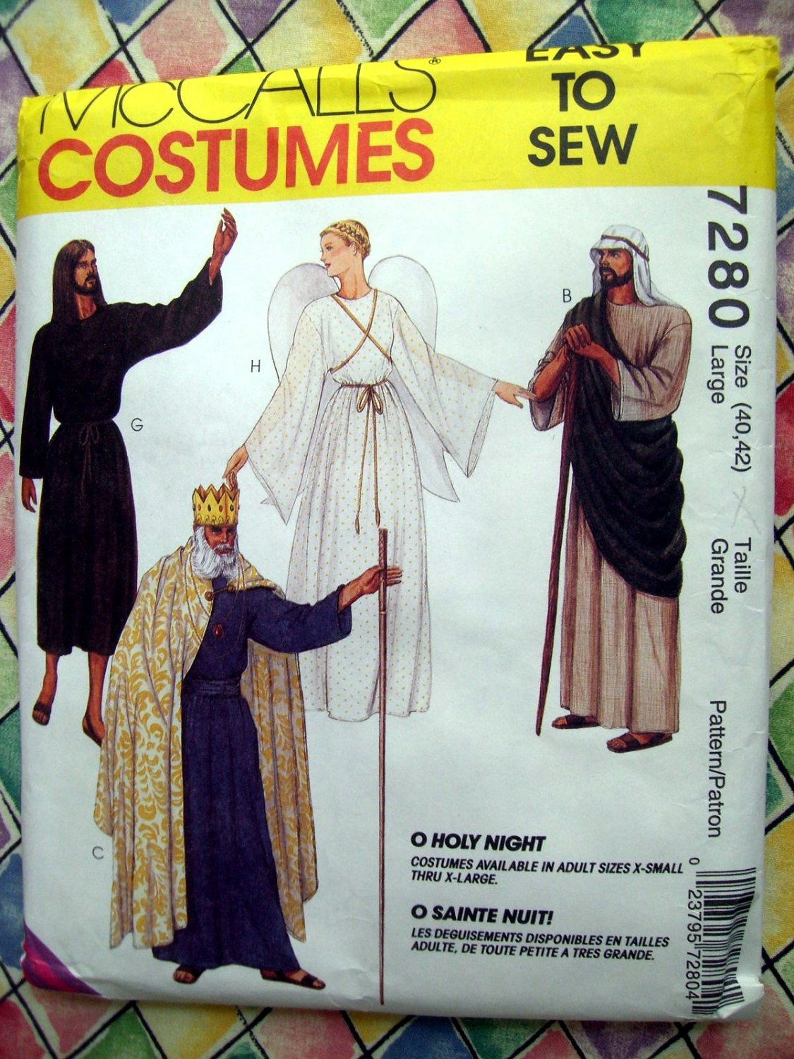 McCall's Sewing Pattern # 7280 Size Adult Size LARGE Holy Night Angel Shepherd King