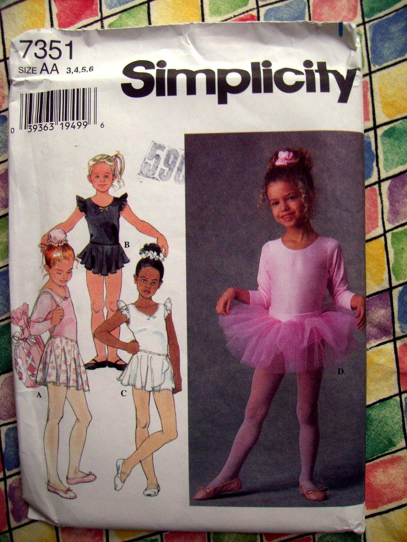 SOLD! Simplicity Pattern # 7351 UNCUT Girls Dance Outfits Leotard Skirt Tutu Bag Size 3 4 5 6