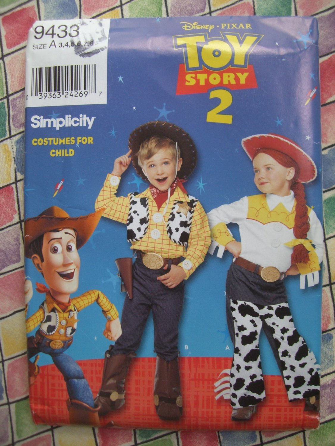 Simplicity Childs Costume Pattern # 9433 UNCUT Toy Story Woodie Jessie Size  3 4 5 6 7 8
