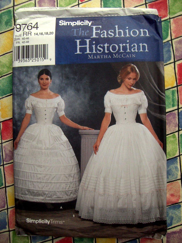 Simplicity Costume Pattern # 9764 UNCUT Misses Crinoline Petticoat Hoopskirt Size 14 16 18 20