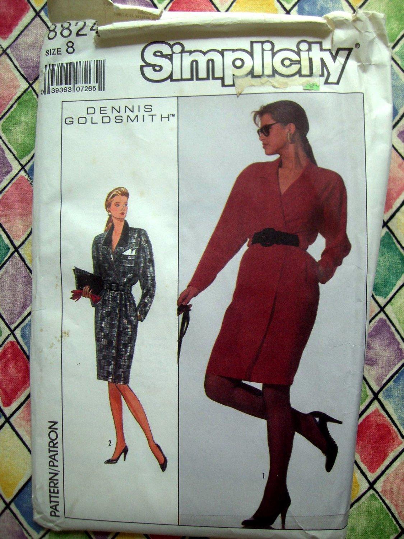 Simplicity Pattern # 8824 UNCUT Miisses Mock Wrap Dress Size 8