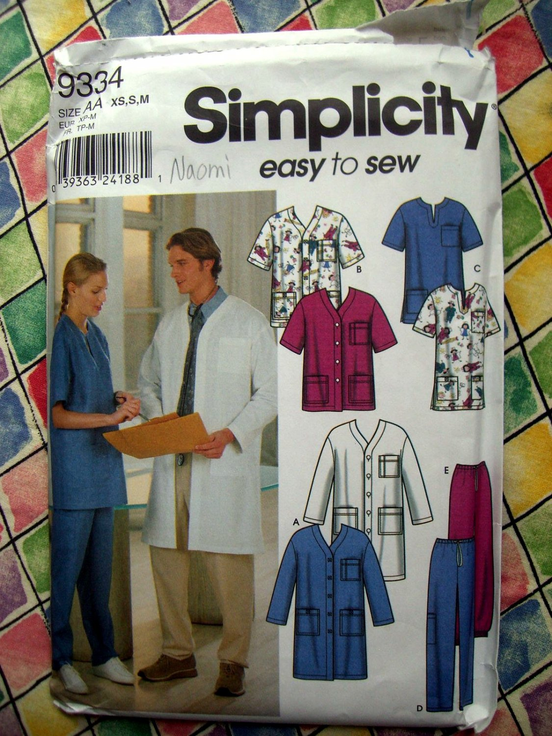 Simplicity Pattern # 9334 UNCUT Unisex SCRUBS Top Coat Pants Size XS Small Medium