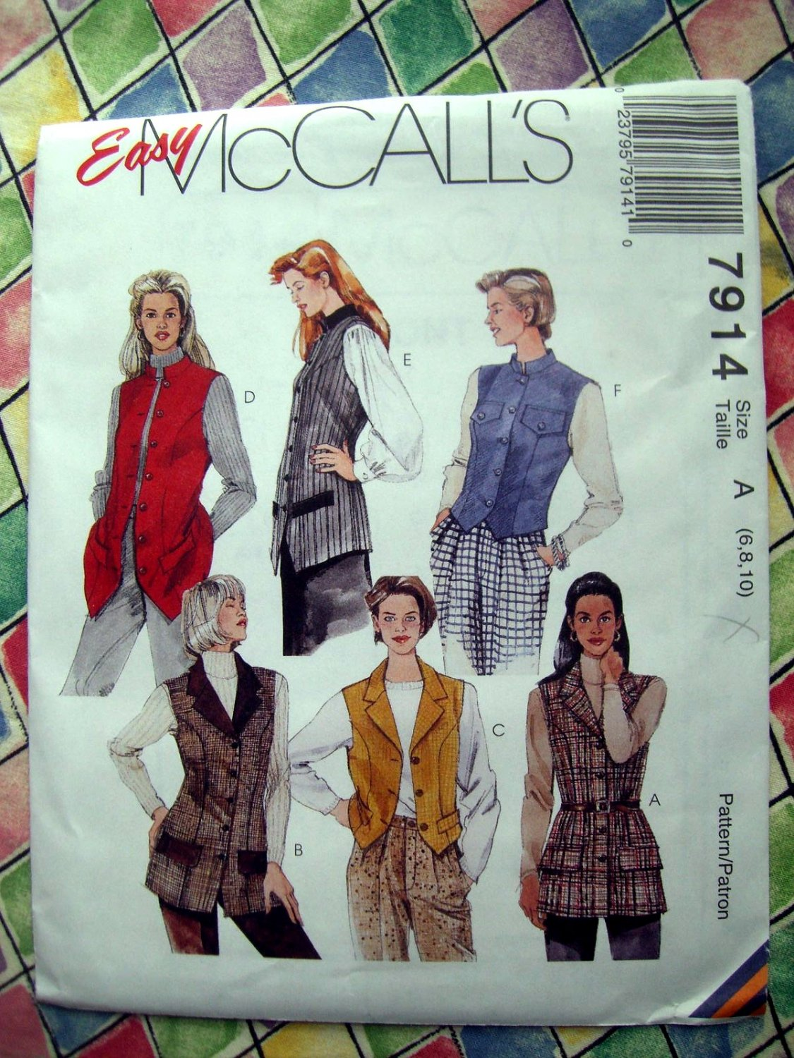 McCall's # 7914 Easy Pattern  Misses VESTS VEST Two Lengths Size 6 8 10
