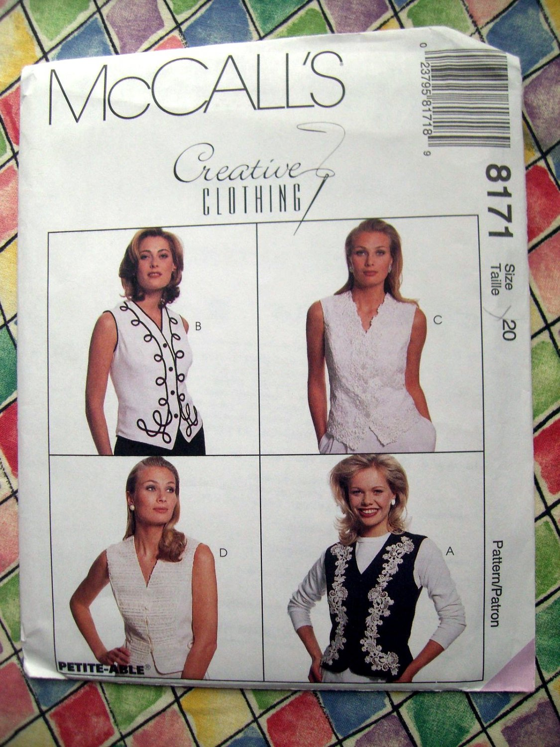McCall's # 7914 Easy Pattern  Misses VESTS VEST Two Lengths Size 16 18 20