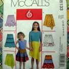 McCalls Pattern # 5133 UNCUT Girls SKIRT Size 7 8 10 12