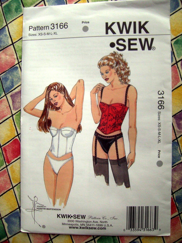 SOLD! Kwik Sew Pattern # 3166 UNCUT Misses Bustier Panties Garter Belt  Size XS Small Medium