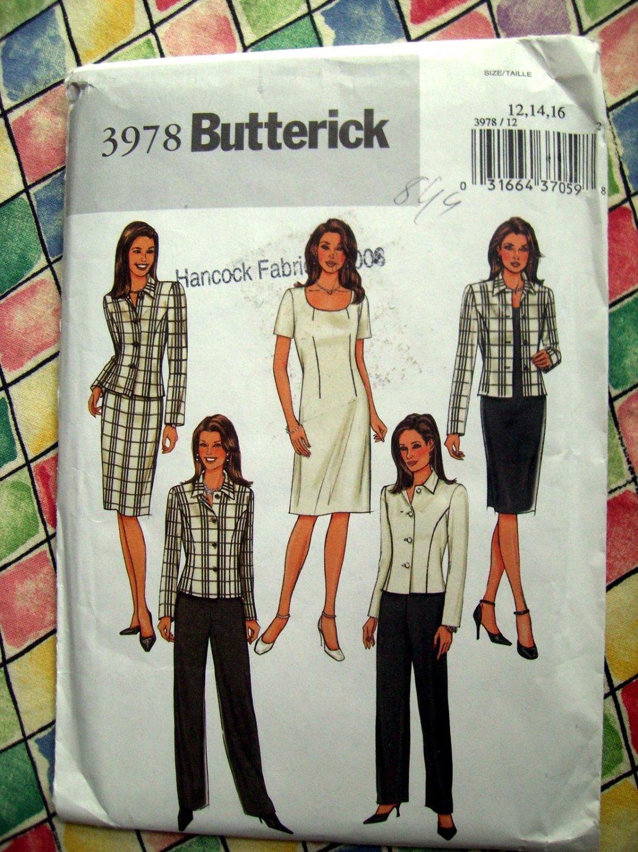 Butterick Pattern # 3978 UNCUT Dress Skirt Jacket Sizes 12 14 16