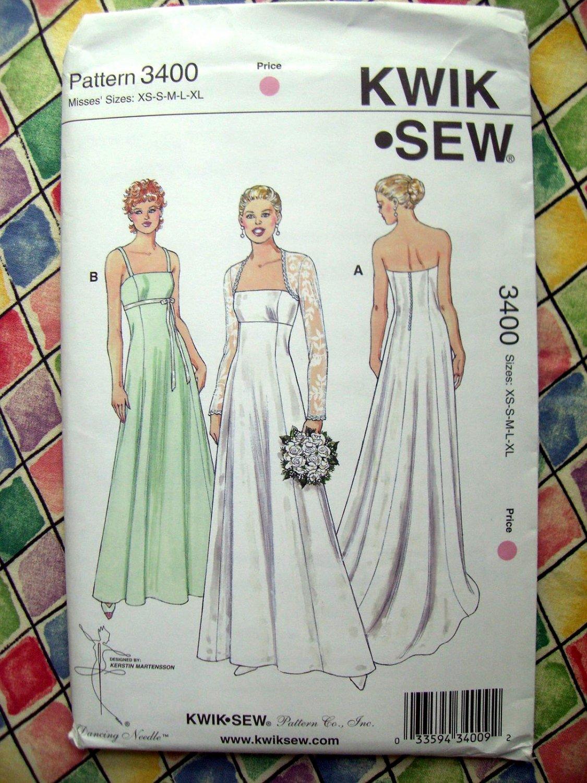 SOLD! Kwik Sew Pattern # 3400 UNCUT Misses Wedding Gown Dress & Bolero Size XS Small Medium Large XL
