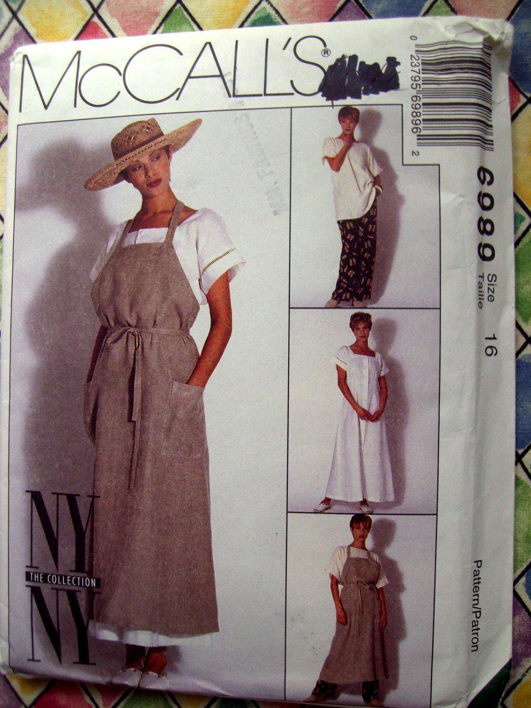 SOLD! McCalls Pattern # 6989 UNCUT Misses Dress Apron Top Pants NY Collection RARE! Size 16