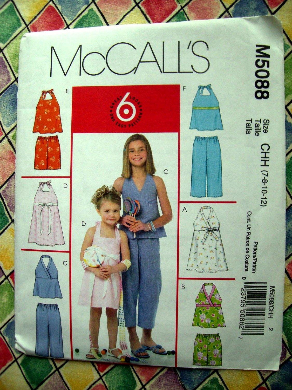 SOLD! McCalls Pattern # 5088 UNCUT Girls Dress Top Shorts Capri Pants Size 7 8 10 12