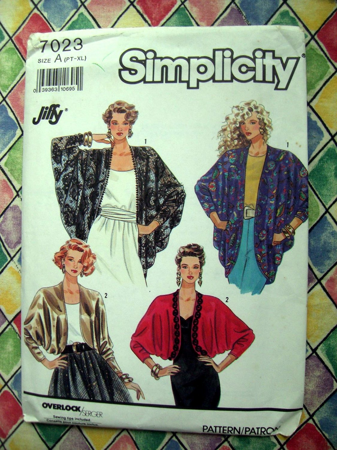 SOLD! Simplicity Pattern # 7023 UNCUT Misses Loose Formal Jacket /Wrap Size Small Medium Large XL