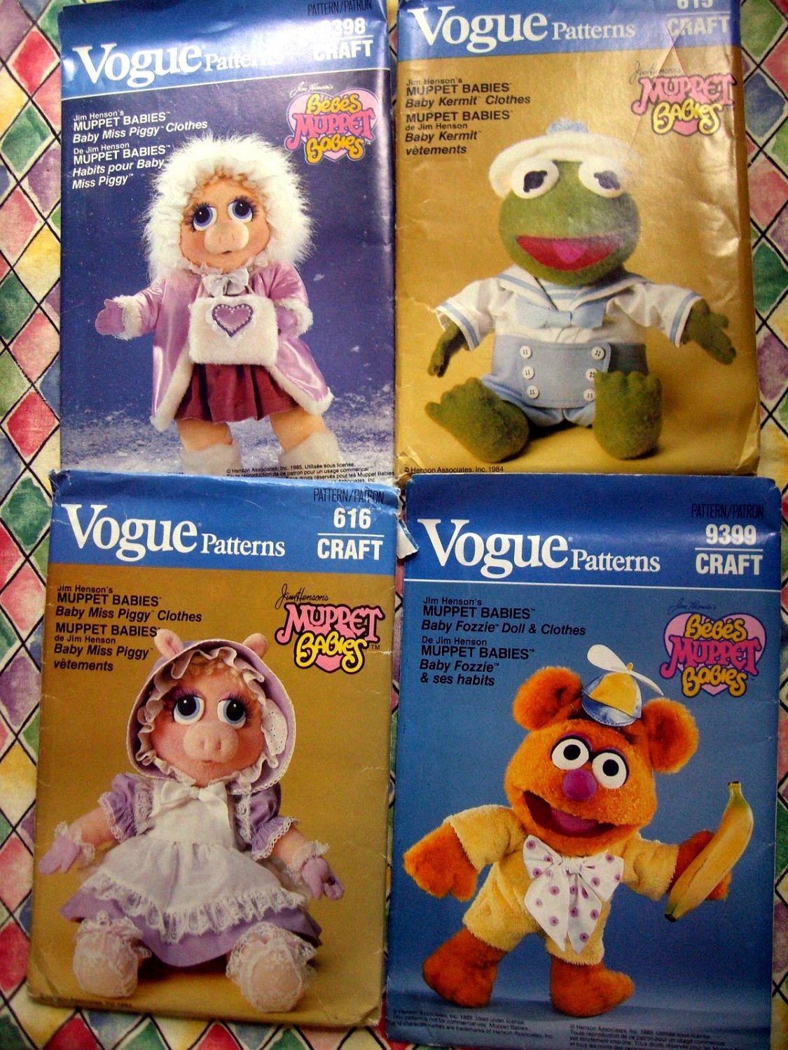 SOLD! Lot 4 Vogue Muppet Babies Sewing Pattern UNCUT Miss Piggy ~ Kermit  ~ Fozzie ~ For Doll