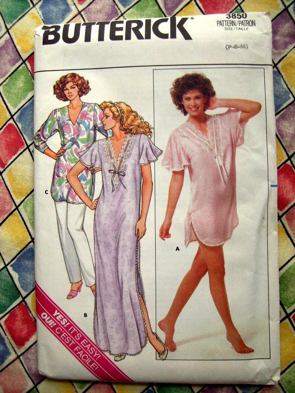 Butterick Pattern # 3850 UNCUT Misses Nightshirt Pajamas Size XS Small Medium