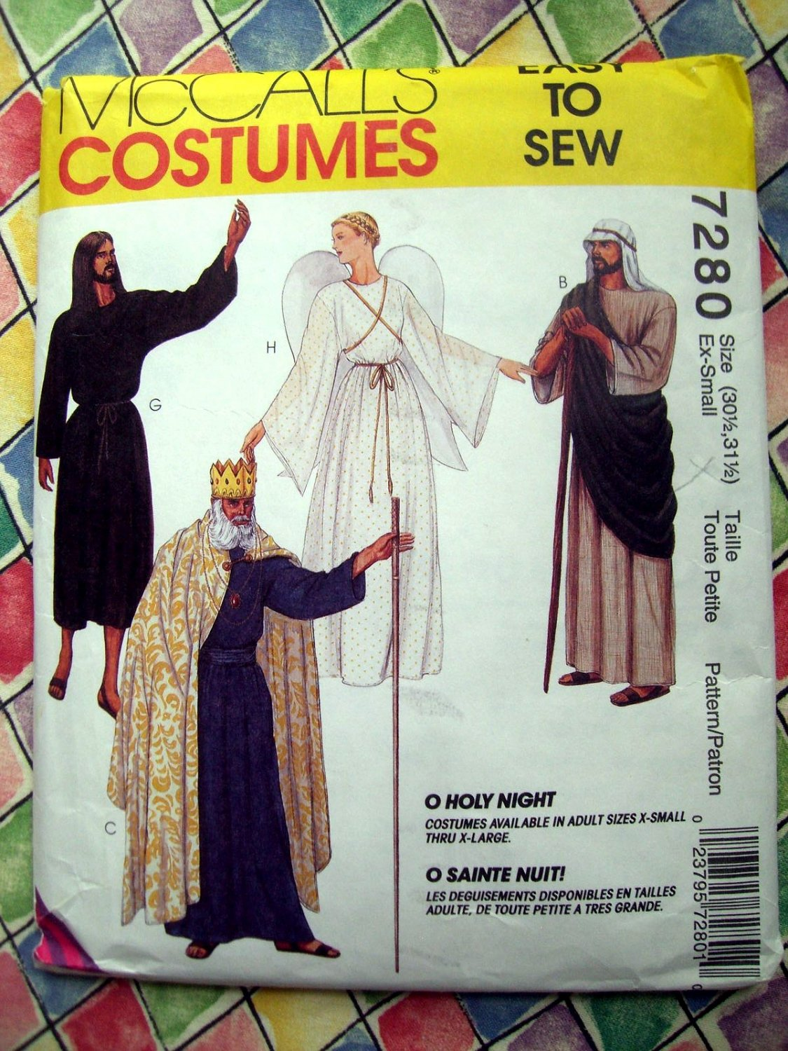 McCall's Sewing Pattern # 7280 Size Adult EXTRA SMALL~ Holy Night Angel Shepherd King Costume