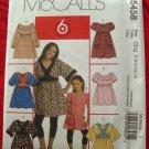 McCalls Pattern # 5458 UNCUT Girls Top and Dress Size 7 8 10 12 14