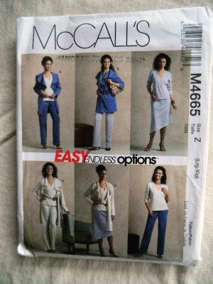 McCalls Pattern # 4665 UNCUT Misses Top Pants Skirt Jacket Size Large XL
