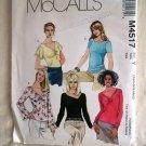 McCalls Pattern # 4517 UNCUT Misses Tops Size XS Small Medium
