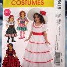 McCalls Pattern # 6418 UNCUT Girls Costume Dress Size 3 4 5 6 7 8