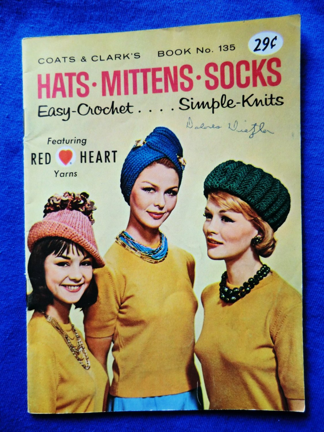 Vintage Coats & Clark Booklet # 135 Hats Mittens Socks Easy Crochet and Knits
