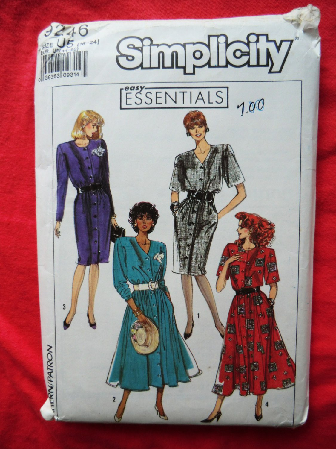 Simplicity Pattern # 9246 UNCUT Misses Dress Size 16 18 20 22 24