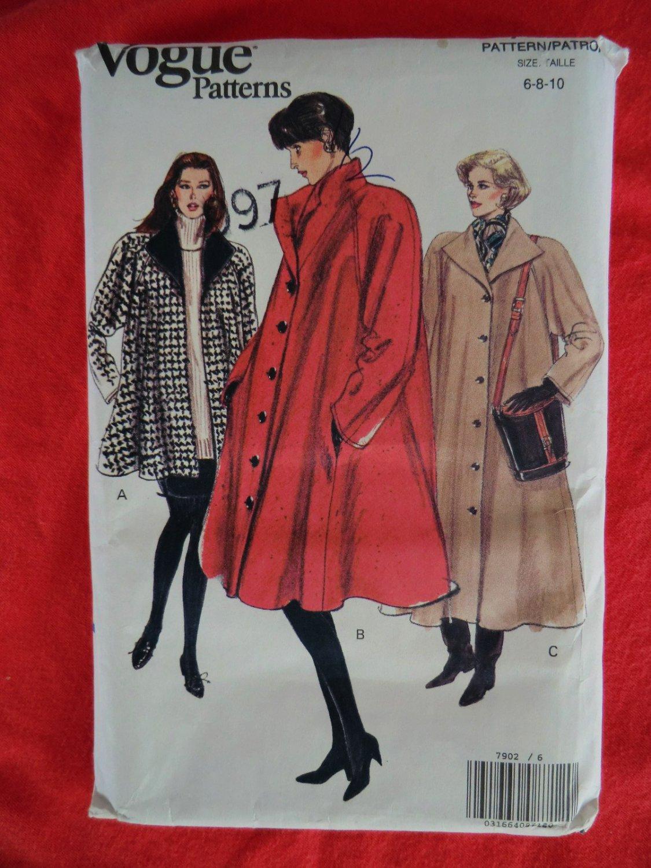 SOLD! Vogue Pattern # 7902 UNCUT Misses Coat Size 6 8 10