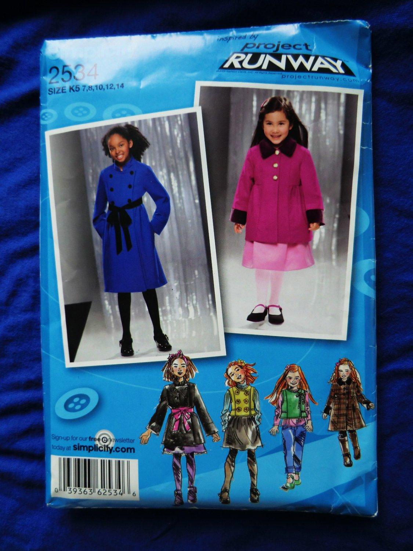 Simplicity Project Runway Pattern # 2534 UNCUT Girls Coat Jacket Vest Size 7 8 10 12 14
