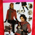 Simplicity Pattern # 4749 UNCUT Misses Hat Scarf Leg Warmers Dog Accessories Small