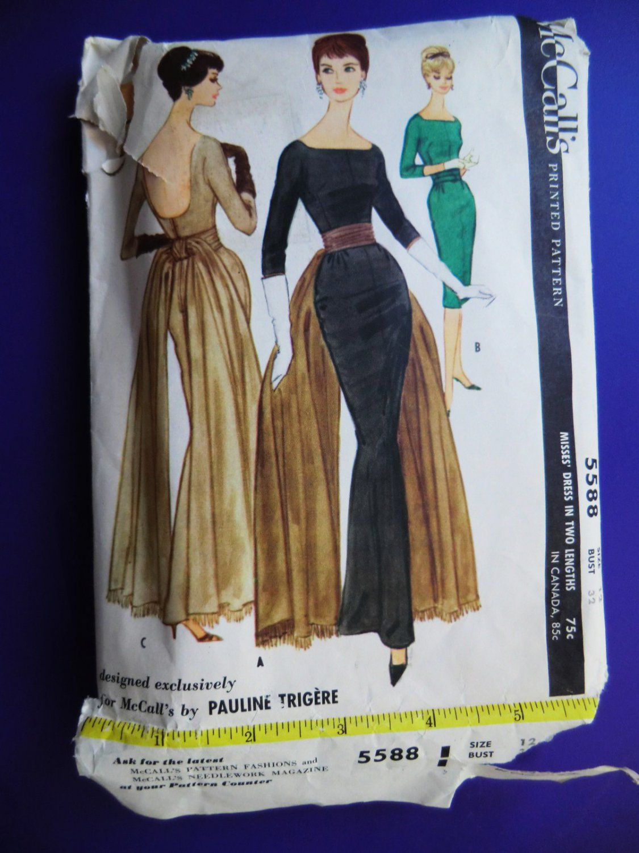 SOLD! Rare Vintage McCalls Pattern # 5588  Misses Mad Men Sheath Dress Short or Long Size 12