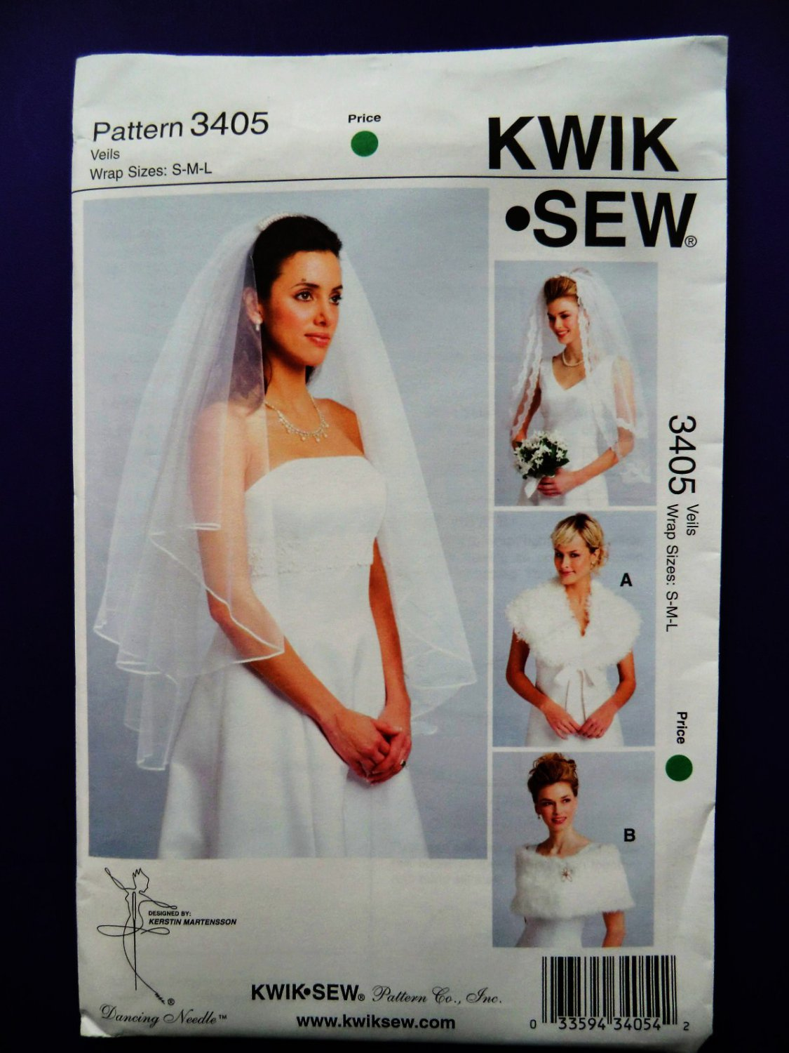SOLD! Kwik Sew Pattern #  3405 UNCUT Bridal Veil Wrap Size Small Medium Large