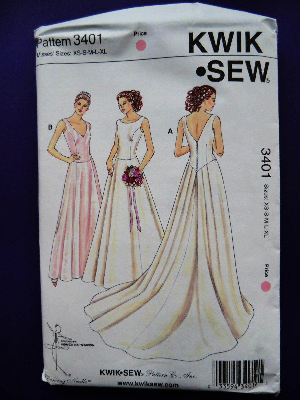 SOLD! Kwik Sew Pattern # 3401 UNCUT Misses Bridal Gown Formal Dress Size XS S Med Large XL