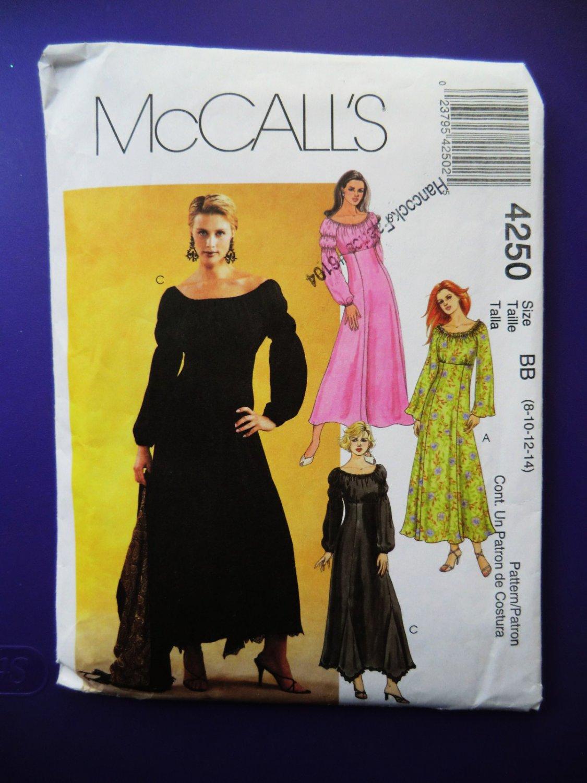McCalls Pattern # 4250 UNCUT Misses Peasant Dress Size 8 10 12 14