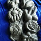 John Wright Heavy Cast Iron Flower Muffin Mold 1991 Rose Lily