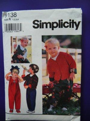 Simplicity Pattern # 9138 UNCUT Toddler Jumpsuit Jacket Size 1 2 3 4