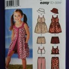 Simplicity Pattern # 5540 UNCUT Toddlers Girls Dress Pants Top Hat Size 3 4 5 6 7 8