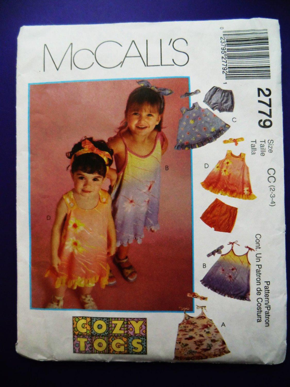 McCalls Pattern # 2779 UNCUT Girls Dress Top Panties Size 2 3 4