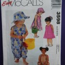 McCalls Pattern # 3598 UNCUT Toddlers Dress Romper Hat Size 1 2 3 4