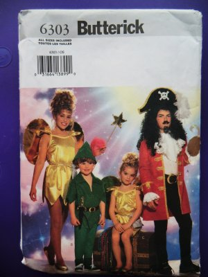 Butterick Pattern # 6303 UNCUT Childs Peter Pan Costume Size Small Medium Large
