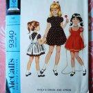 McCalls Pattern # 9340 UNCUT Girls Dress Apron Size 4 Vintage 1968