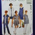 McCalls Pattern # 8757 UNCUT Misses MATERNITY Top Shirt Pull-On Pants Size 8 10 12